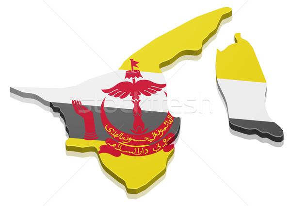 Kaart Brunei gedetailleerd illustratie vlag eps10 Stockfoto © unkreatives