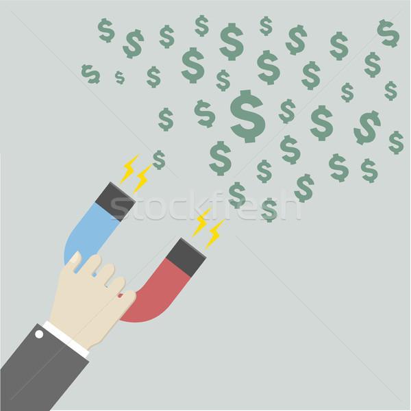 Imán dólares ilustración mano Foto stock © unkreatives
