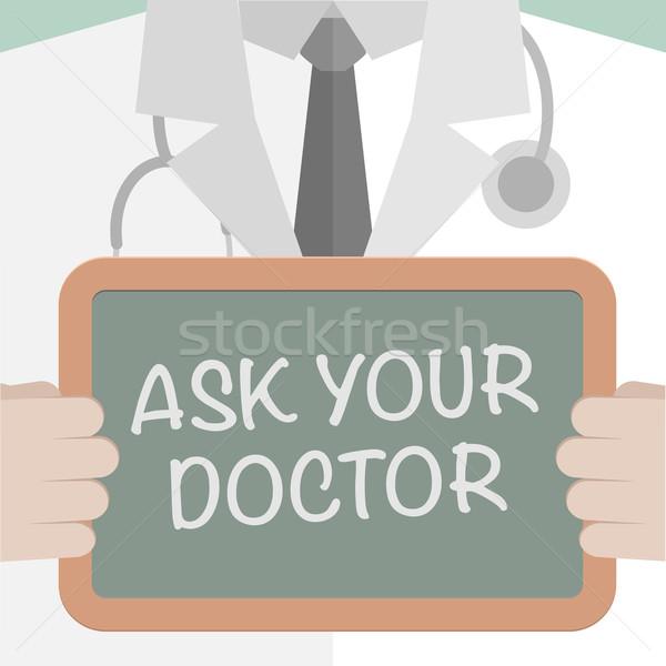 Poser médecin illustration tableau noir Photo stock © unkreatives