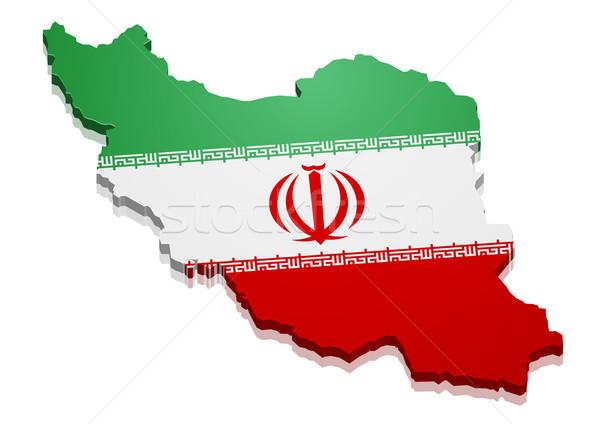 Harita İran ayrıntılı örnek bayrak eps10 Stok fotoğraf © unkreatives
