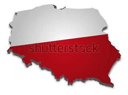 Polonya 3D bayrak dünya toprak Stok fotoğraf © unkreatives
