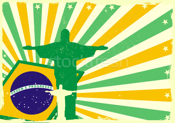 jesus and brazilian flag Stock photo © unkreatives