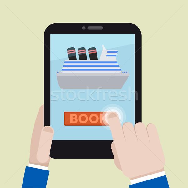Tableta libro buque ilustración Foto stock © unkreatives