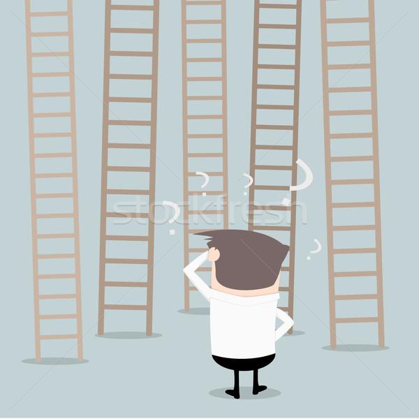 Businessman Ladders Decision Stock photo © unkreatives