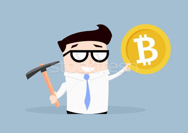 Işadamı bitcoin madencilik minimalist örnek Stok fotoğraf © unkreatives
