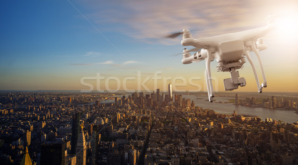 Drone flying over Manhattan Stock photo © unkreatives