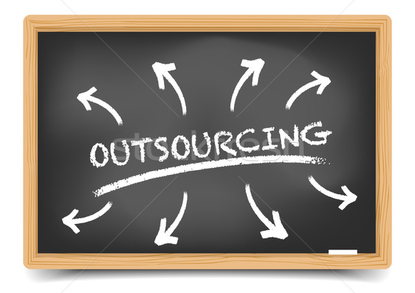 Blackboard outsourcing Stock photo © unkreatives