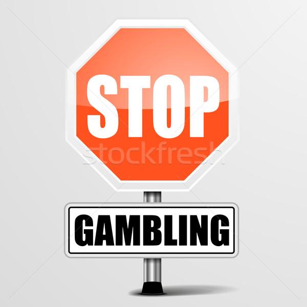Stop hazárdjáték részletes illusztráció piros felirat Stock fotó © unkreatives