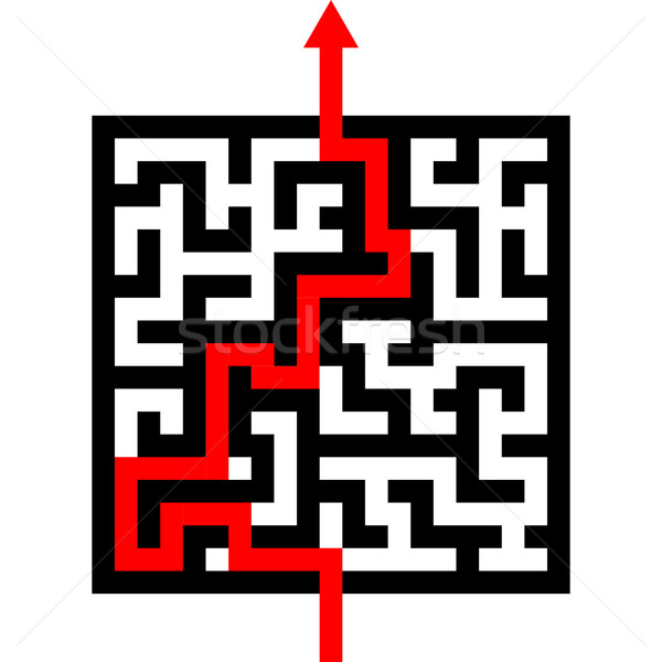 maze with red arrow Stock photo © unkreatives