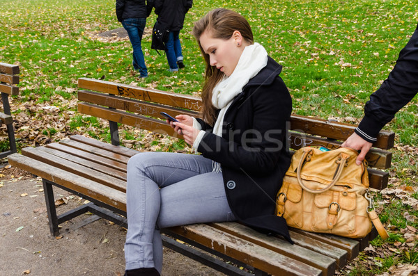 Pickpocket Stealing Bag While Woman Using Phone On Park Bench Stock photo © unkreatives