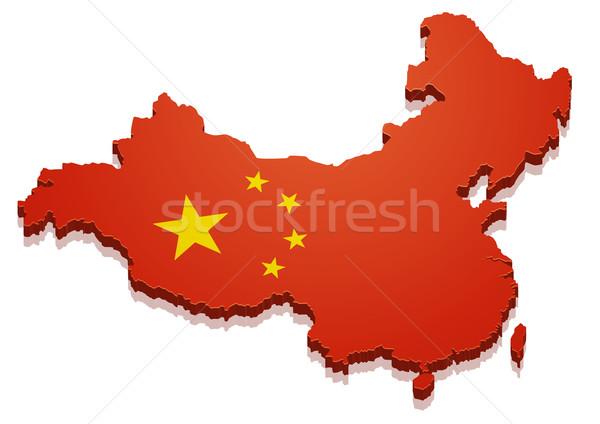 Pokaż Chiny szczegółowy ilustracja banderą eps10 Zdjęcia stock © unkreatives
