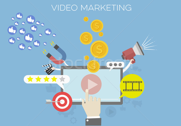 Video marketing dettagliato illustrazione social network media Foto d'archivio © unkreatives