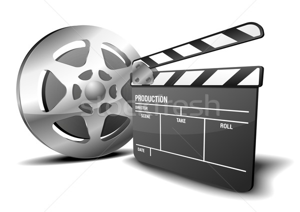 clapper board and film reel Stock photo © unkreatives