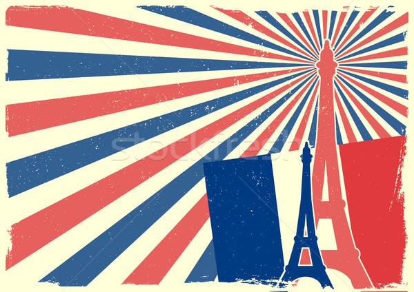 Frankreich detaillierte Illustration Eiffelturm schmutzig patriotischen Stock foto © unkreatives