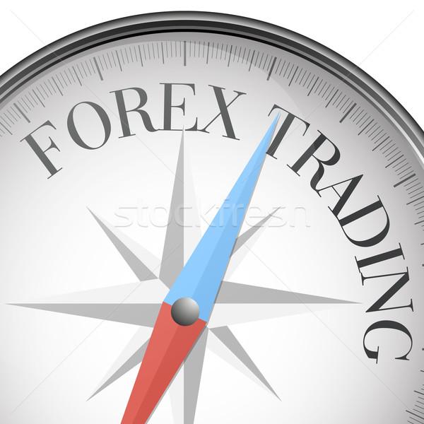 Kompas forex handel gedetailleerd illustratie tekst Stockfoto © unkreatives
