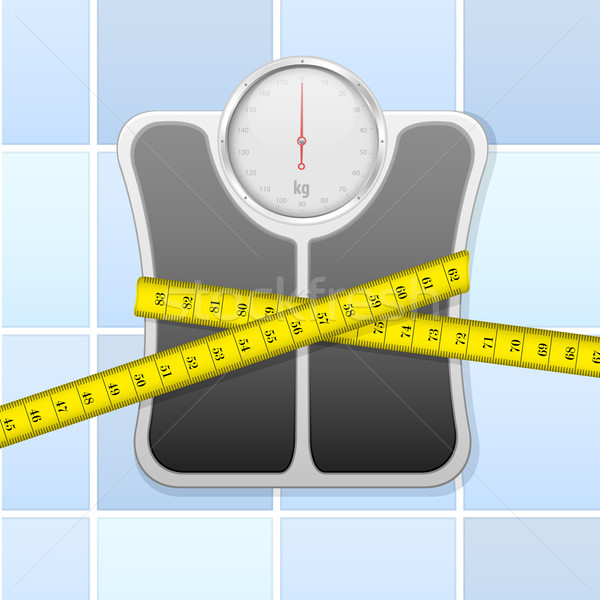 bathroom scale with measure tape Stock photo © unkreatives