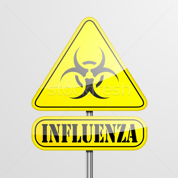 Yellow Influenza Warning Sign Stock photo © unkreatives