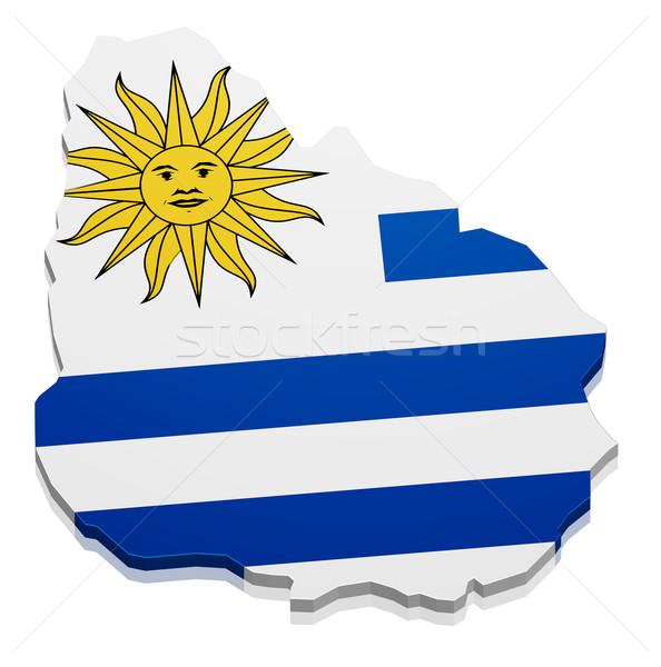 Térkép Uruguay részletes illusztráció zászló eps10 Stock fotó © unkreatives