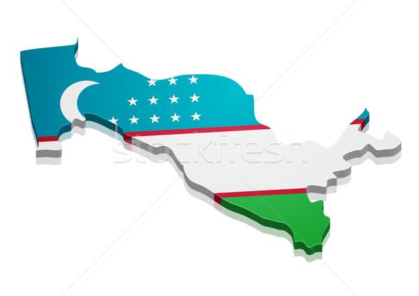 Térkép Üzbegisztán részletes illusztráció zászló eps10 Stock fotó © unkreatives