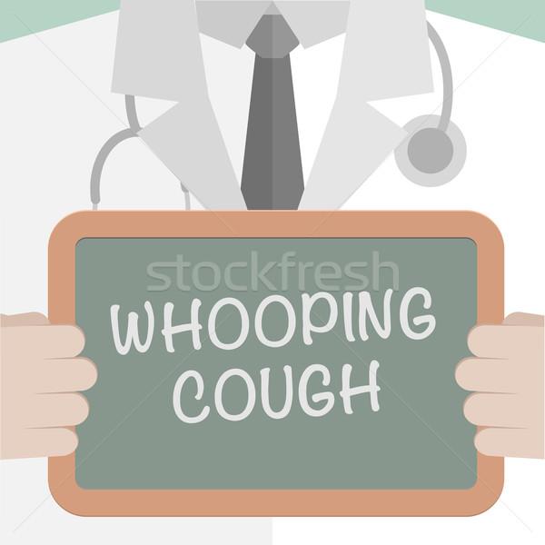 Köhögés minimalista illusztráció orvos tart iskolatábla Stock fotó © unkreatives