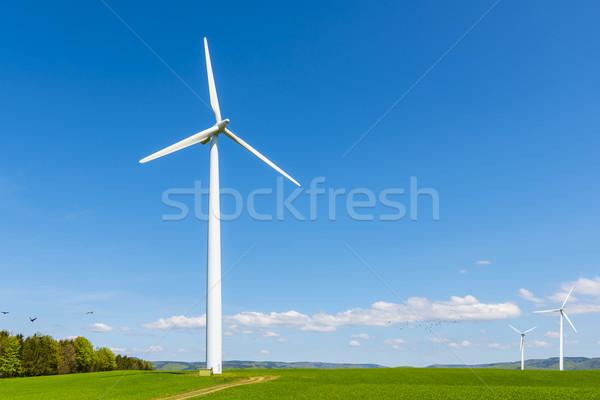 風力タービン ジェネレータ 小 風力発電所 緑 フィールド ストックフォト © unkreatives