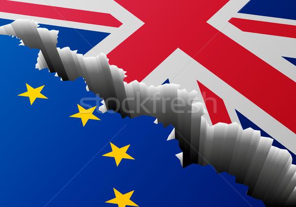 флаг Европа Великобритания глубокий трещина подробный Сток-фото © unkreatives
