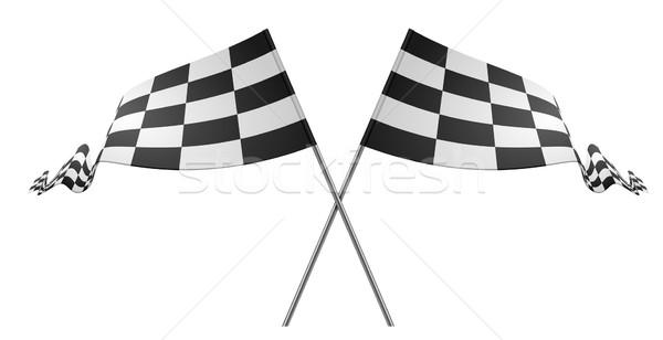 Course drapeaux détaillée illustration blanche design Photo stock © unkreatives