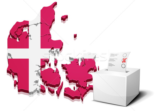 Denemarken gedetailleerd illustratie stemmen vak 3D Stockfoto © unkreatives