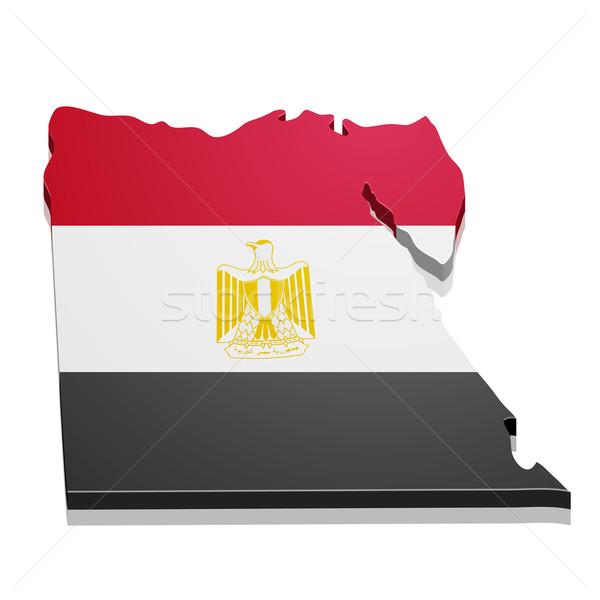 ストックフォト: 地図 · エジプト · 詳しい · 実例 · フラグ · eps10