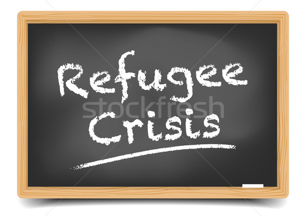 Menekült válság részletes illusztráció iskolatábla szöveg Stock fotó © unkreatives