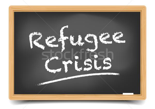 Vluchteling crisis gedetailleerd illustratie Blackboard tekst Stockfoto © unkreatives