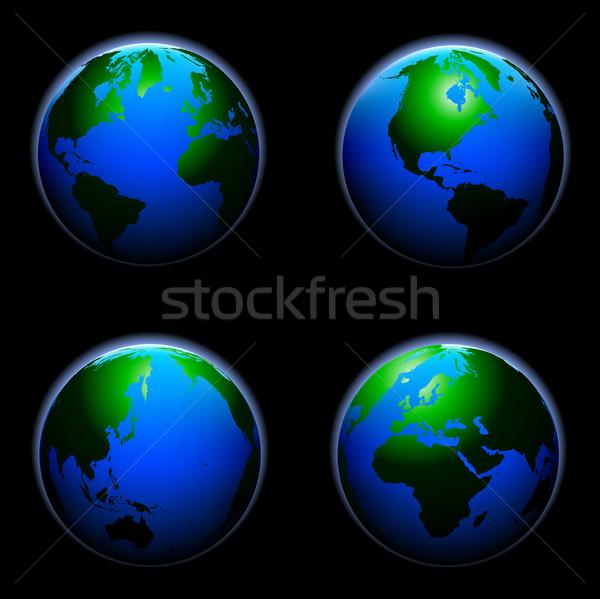 Detalhado ilustração terra globo diferente eps8 Foto stock © unkreatives