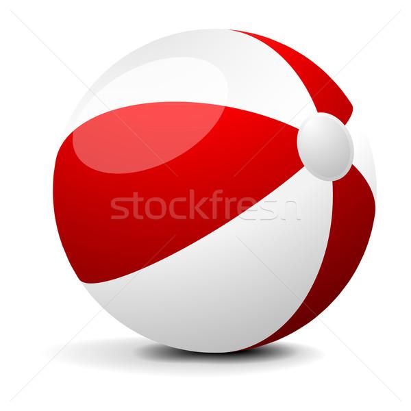 Beachball Illustration rot weiß eps Frühling Stock foto © unkreatives