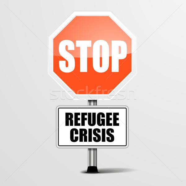 Stoppen vluchteling crisis gedetailleerd illustratie Rood Stockfoto © unkreatives