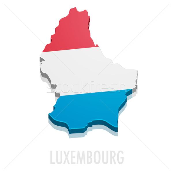Kaart Luxemburg gedetailleerd illustratie vlag eps10 Stockfoto © unkreatives