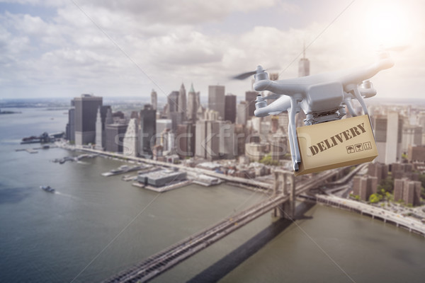 Multicopter flying over New York City Stock photo © unkreatives