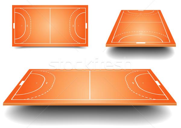 ストックフォト: ハンドボール · フィールド · セット · 詳しい · 実例 · フィールド