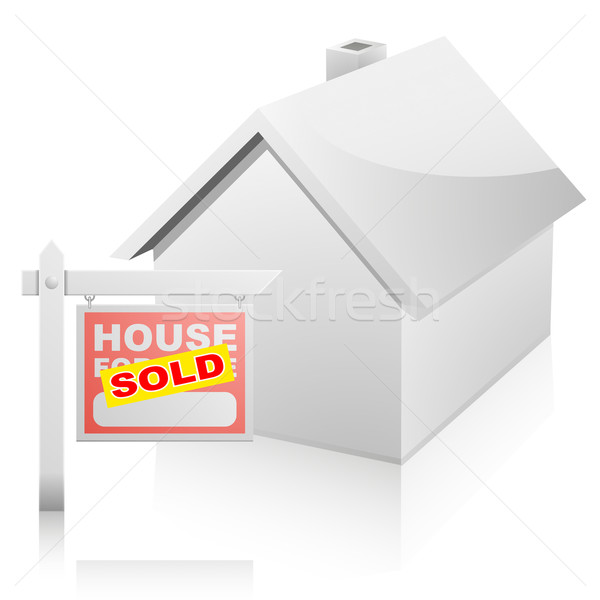 Maison vente signe détaillée illustration immobilier Photo stock © unkreatives