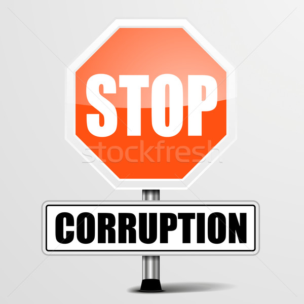 Roadsign Stop Corruption Stock photo © unkreatives