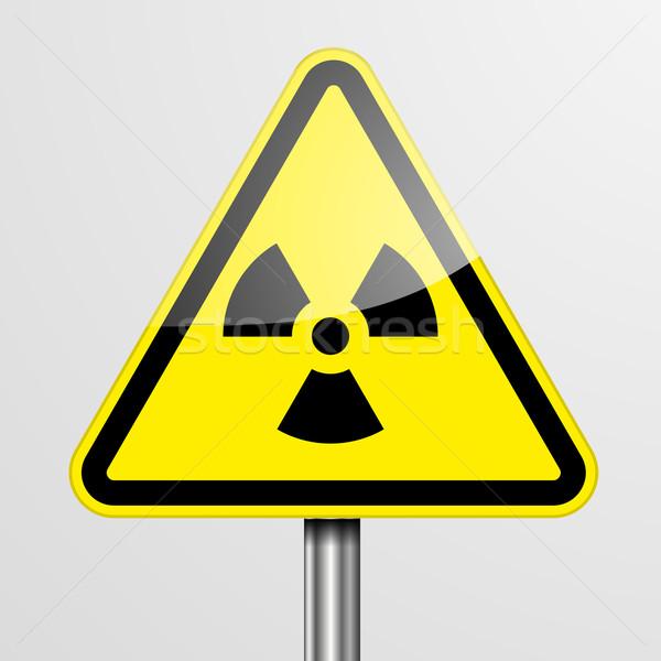 Figyelmeztető jel sugárzás részletes illusztráció citromsárga eps10 Stock fotó © unkreatives