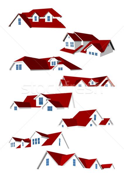 Dachy kolekcja osiem czerwony puszka używany Zdjęcia stock © unweit