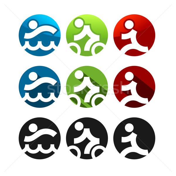 Triathlon ícones três diferente estilos fitness Foto stock © unweit