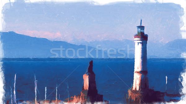 Photo stock: Vieux · port · Allemagne · lac · numérique · imitation