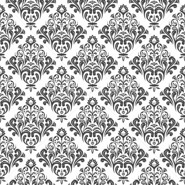 Bezszwowy adamaszek wzór czarno białe kwiatowy tapety Zdjęcia stock © unweit