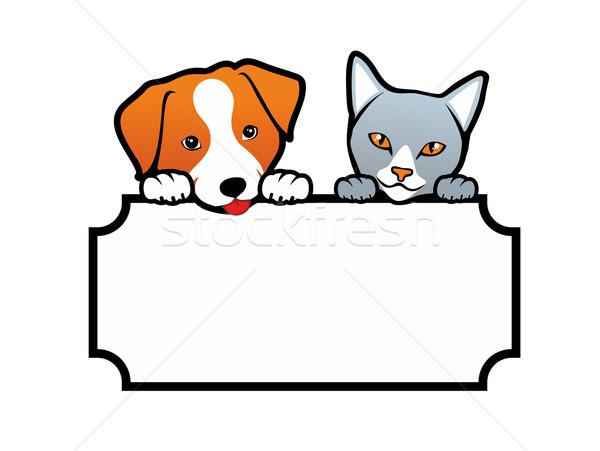 Köpek kedi imzalamak köpekler kediler Stok fotoğraf © unweit