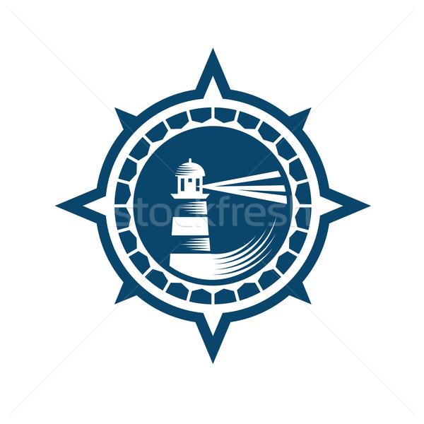 Deniz feneri amblem retro tarzı mavi beyaz su Stok fotoğraf © unweit