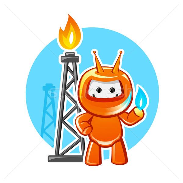 Erdgas Industrie Maskottchen Business Feuer Gesicht Stock foto © unweit