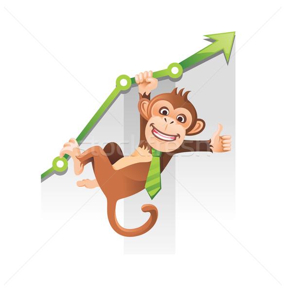 Aap business opknoping groene grafiek Stockfoto © unweit