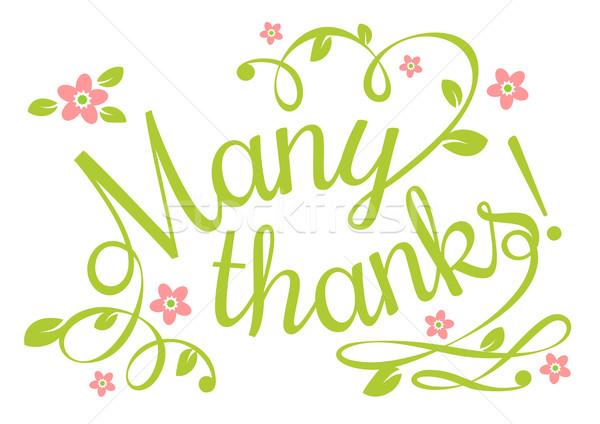 Wiele thanks karty pozostawia etykiety Zdjęcia stock © unweit