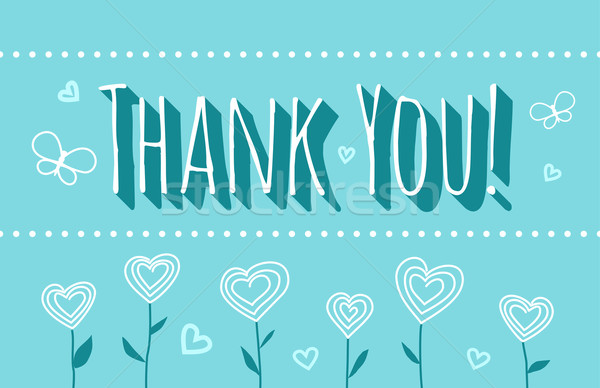 Veel dank dank u kaart bloemen turkoois Stockfoto © unweit
